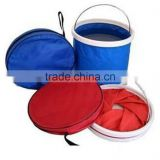 Foldable Portable Collapsible Bucket Watertight Fabric No Leakage Portable Fishing Bucket With a Zippered Pouch