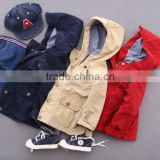 Washed wrinkly baby wear hoodie coat wholesale boys windproof jacket
