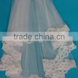 Hot sale ivory colored wedding veils edged design beaded crystal pearls lace trim
