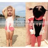 kids stock swan prints tiered fringe dress tankinis bathing suit swimsuit swimwear beach wear diving suit party suit