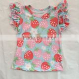 hot sale baby girl flutter sleeve top baby summer strawberry pattern T-shirt baby wholesale boutique clothing