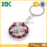 Vintage car decoration colored Cross plane steering wheel compass keychain