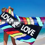 2017 new custom design wrap body digital velour 76*152cm full print plain dyed beach blanket/microfiber towel