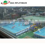Ground metal steel frame swimming pool with filter pump, mobile swimming pool equipment set