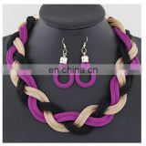 European fashion fancy Metal concise temperament of twist chain necklace earrings jewelry set