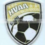 China factory Custom shield shape football soccer embroidered patch, overlocked adhesive embroidery badge