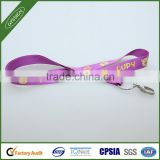 Purple/custom 2014 poly/nylon gift custom lanyard,retractable rhinestone lanyard with id badge holder