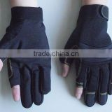 Black, Red and blue Fingerless Synthetic Leather Palm Household, Mechanic Work Gloves