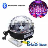 Mini Bluetooth Voice activated RGB LED Crystal Magic Ball Effect Light,Disco Stage Lighting with USB and Remote
