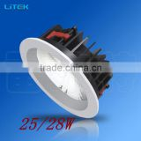 Longer lifespan, lower cost pure emitting color 25W cob led down light