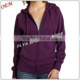 OEM high quality 100 cotton sports pullover hoodie women's fitness long sleeve zipper up hoody
