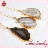 Natural color agate geode slice pendant with 30'' chain                                                                         Quality Choice