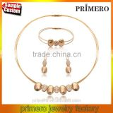 Vintage Stainless Steel 18K Gold Plated Necklace Earrings Bracelet Charm Bridal Jewelry Sets