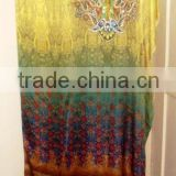 HIGH FASHION DIGITAL PRINTED LONG KAFTAN, HIGHLIGHTED WITH BEADS WORK AT NECK JEWELRY.