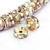 Gold Plated Crystal AB Aurore Boreale #101 Rhinestone Jewelry Rondelle Spacer Beads Variation Color and Size 4mm/6mm/8mm/10mm