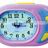 plastic oval shape alarm clock, analog melody music desktop clock, electron bell table alarm clock