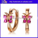 Wholesale Fashion 925 Sterling Silver Rose Gold Womens Huggie Earrings With Red Ruby Stone