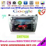 7 inch touch screen A4 platform car dvd player for mazda 6 dvd with PIP,RDS,GPS,BT,FM/AM,TV,3G,etc