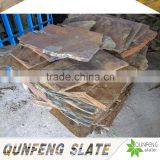 split surface finishing rusty irregular random shape stone wall natural slate landscaping stone