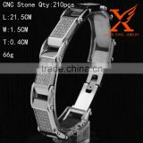 Mens Trendy White Gold On Stainless Steel Bracelet Presidential Link Lab CZ Stone Bracelet