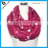 maroon color heart love printing infinity lady scarf