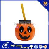 Halloween Pumpkin Candy Pails Halloween Plastic Funny Pumpkin Buckets Candy Jar Beverage Cans For Drink or Decoration