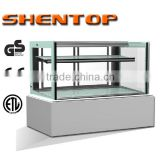 Shentop STPA-M12V rectangular glass refrigerated bakery case two layers marble vertical showcase cake refrigerator