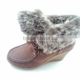 2014 Lace-up lady high heel boots with fur covered