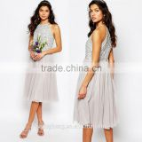 Latest design fashion sequin embellished blouse and skirt dress high neck midi tulle wedding dress
