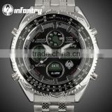 INFANTRY Men's Black Sport Digital Chronograph Army Stainless Watch