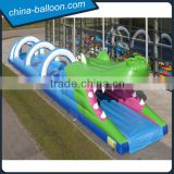 Longest inflatable water slide /lovely crocodile park/inflatable crocodile belly tunnel for outdoor game