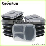 Hot Item Custom Resuable 3 Compartment Food Container Factory , 3 Divided Plastic Bento Lunch Box Microwavable Dishwasher