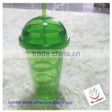 plastic bottle with a curved straw