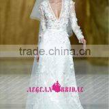 R13616 2013 Barcelona summer long sleeves lace beach very sexy wedding dresses