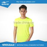 ERKE wholesale couple style round neck bright color blank quick dry short sleeve mens polyester t shirt