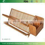 BH002/ Unique Counter Kitchen Decor Bamboo Folding Dish Drying Stainless Steel Utensil Rack