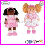 B131 Soft Girl Doll Stuffed Rag Pink Dress Headband Shoes Beautiful 18 Inch Doll Clothing