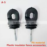 Ring insulator, farm electric fencing, wood thread 6mm.black platic,Polytape insulator,electric fence