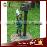 Hot Sale Bronze Boy Mailbox Sculpture With Dog