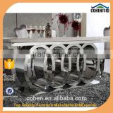 INquiry about AH062 Audi Symbol base stainless steel frame marble top luxury dining table and chair