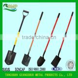 suqare shape carbon steel head fiberglass handle shovel spade with rubber antislip handle