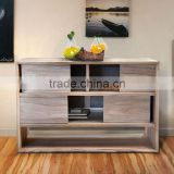 Buffet Console Minimalist Sliding Door Teak Wood Furniture for Hotel