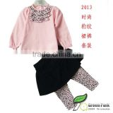 girls cute t shirts+black skirts leopard leggng sets