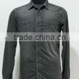 BLACK WASHED DENIM SHIRT
