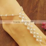 Women Pearl Chain Foot Harness Toe Ring Barefoot Sandal Beach Anklets