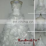 EB1276 Fashionable Custom Made Elegant A-line Organza Layered Ball Gown Wedding Dresses Long Train