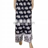 Indian Elephant Designer Animal Print White Black Baggy Boho Hippie Palazzo Unisex Trouser Yoga palazzo Harem Pants Baggy pants
