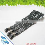 Beautiful festival polyester wristbands with one way plastic buckle for events