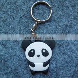 3D popularity little cute panda soft rubber pvc custom logo irregular shape promotion gift keychain