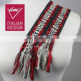 Vintage striped woven cotton long fringe tribal scarf belt/wide boho cloth tie sash belt/scarf belt